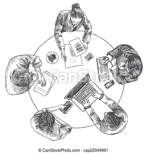 Business meeting top view - csp22044991