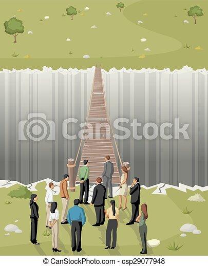 Business men in front of a bridge - csp29077948