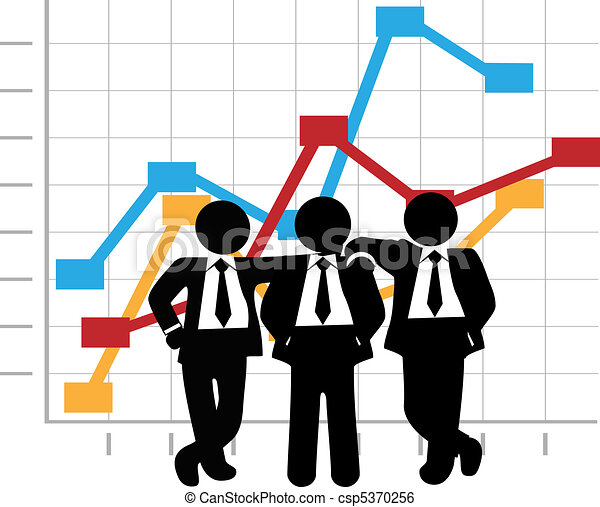Business Men Sales Team Profit Growth Graph Chart - csp5370256