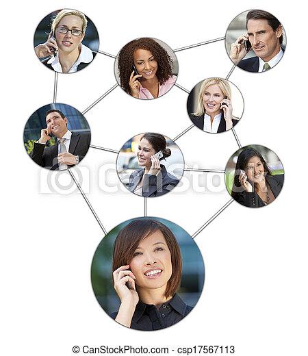Business Men Women Cell Phone Communication Network - csp17567113