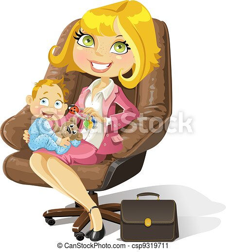 Business mom with baby boy in an office chair - csp9319711