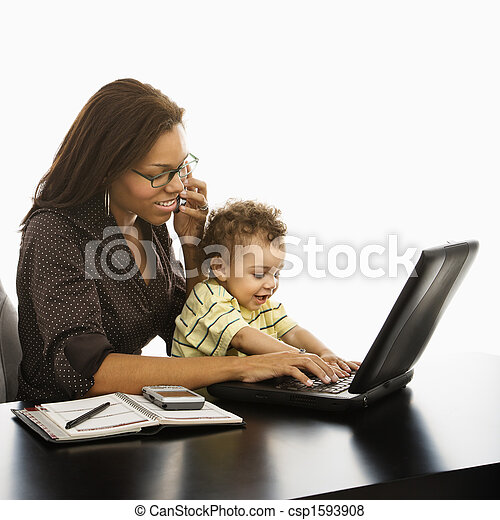 Business mom with baby. - csp1593908