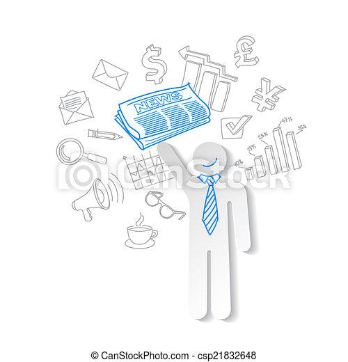 Business news team leader teamwork communication vector - csp21832648