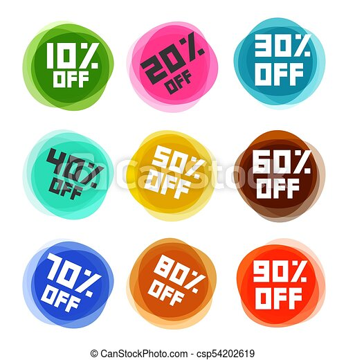 Business Off Labels Set. Vector Discount Icons. - csp54202619