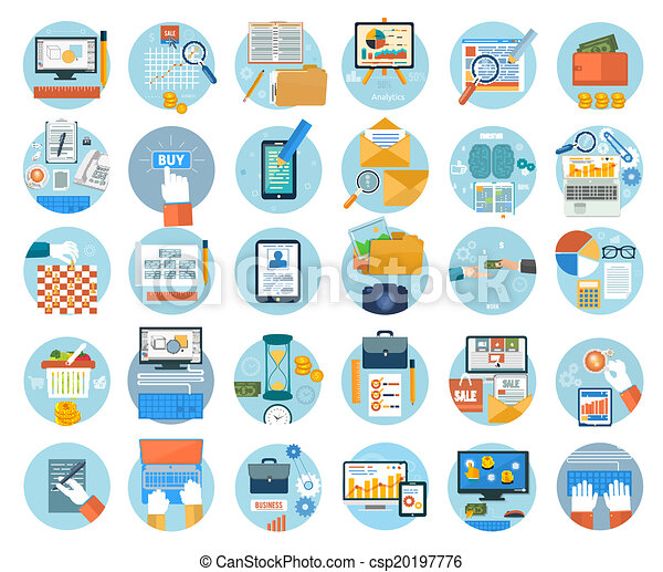 Business, office and marketing items icons. - csp20197776