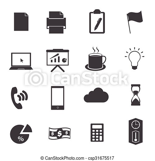 Business office icons set - csp31675517