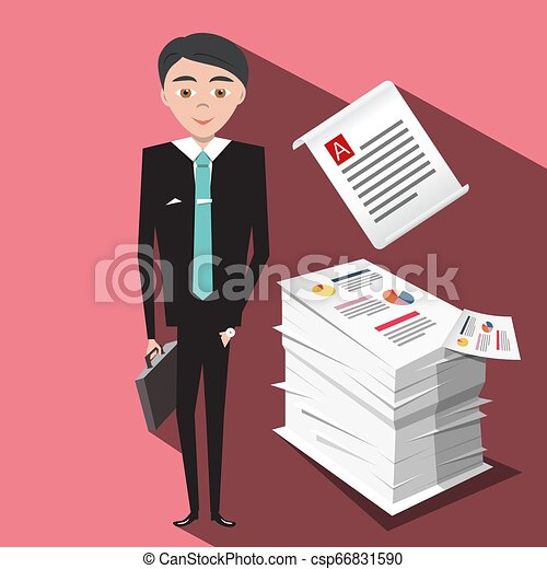 Business Office with Stack of Papers and Businessman Vector Flat Design Illustration - csp66831590