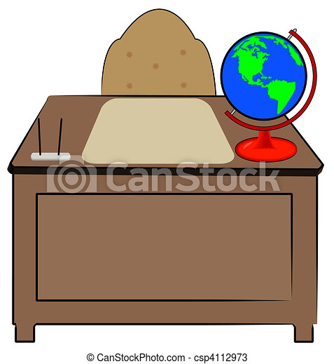 business or teachers desk with globe of world sitting on it rh canstockphoto com black and white teachers desk clipart black and white teachers desk clipart