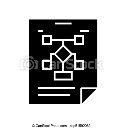 Business Organization Flow Chart Icon Vector Illustration Black