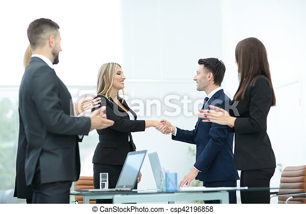 Business partner greeting each other with handshake business people business partner greeting each other with handshake csp42196858 m4hsunfo
