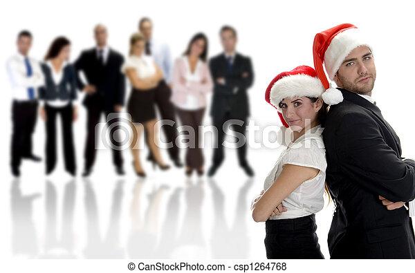 business partners celebrating christmas - csp1264768