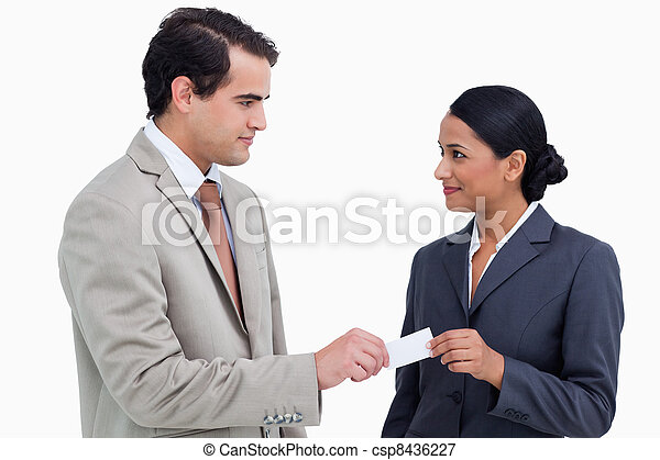 Business partners exchanging business cards - csp8436227