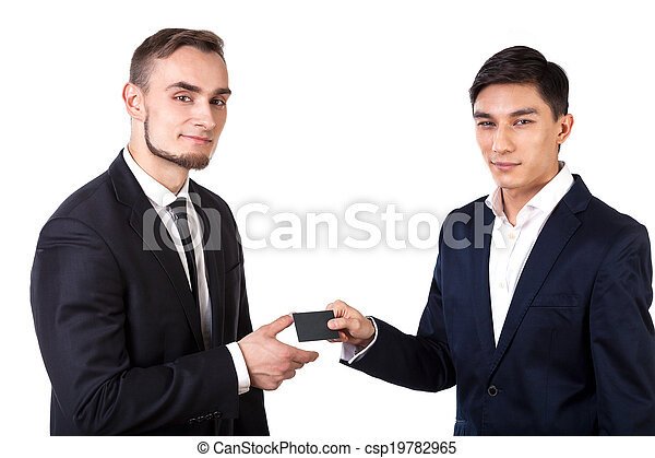 Business partners exchanging business cards - csp19782965