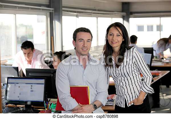 Business partners in a busy office - csp8780898