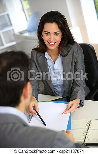 Business partners meeting for contract signature - csp21137874
