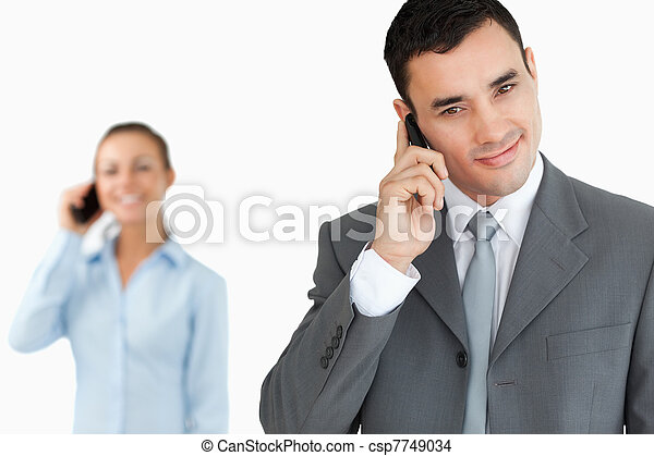 Business partners on the phone - csp7749034