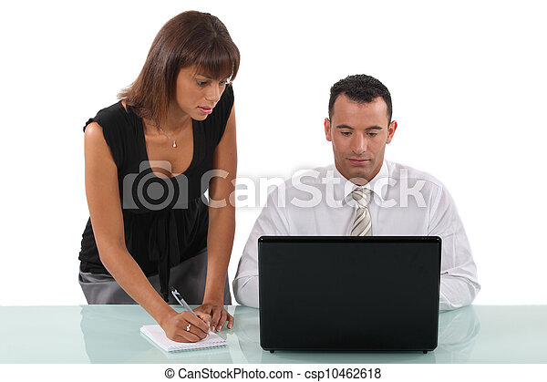 Business partners working on project - csp10462618