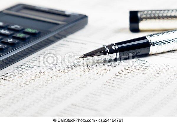 business pen, calculator on financial chart  - csp24164761