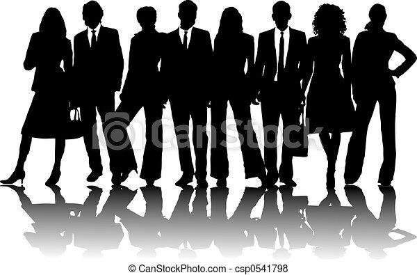 business people 2 8 silhouette business people in line in stock rh canstockphoto com Business People Meeting Clip Art business people clip art free