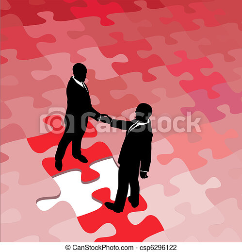 Business people agree on problem puzzle solution - csp6296122