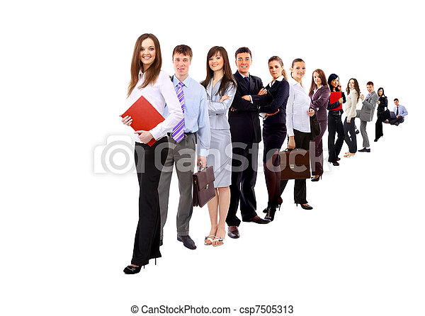 Business people and team. Isolated over white background - csp7505313