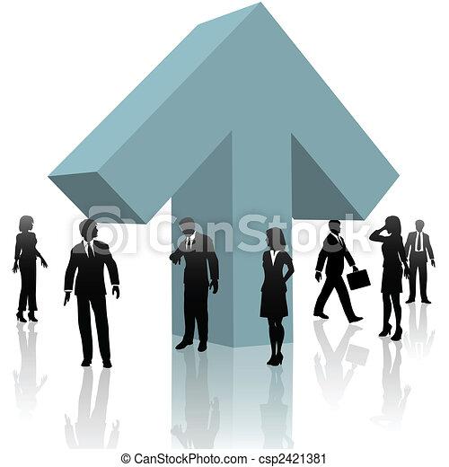 business people around up arrow team up for progress - csp2421381