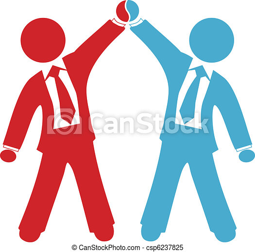 Business people celebrate deal agreement success - csp6237825