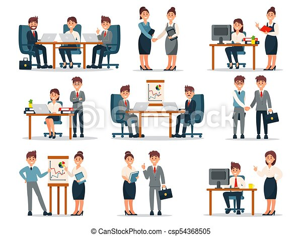 Business People Characters At Work Set Male And Female Workers At Workplace In Office Cartoon Vector Illustrations On A