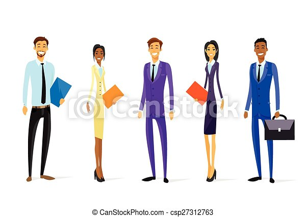 Business People Chartoon Character Group Diverse Team Standing - csp27312763