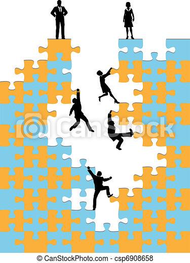 Business people climb corporate success puzzle - csp6908658