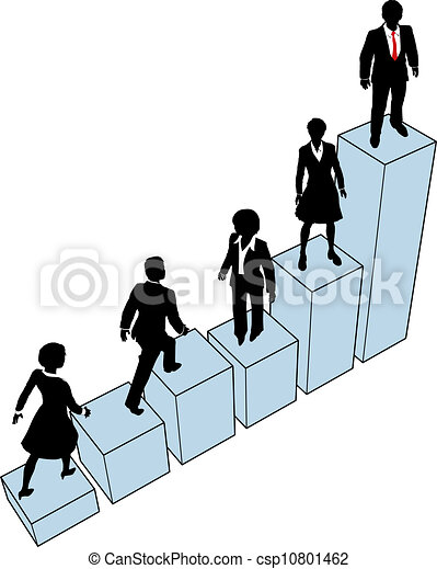 Business people climb stand on chart - csp10801462