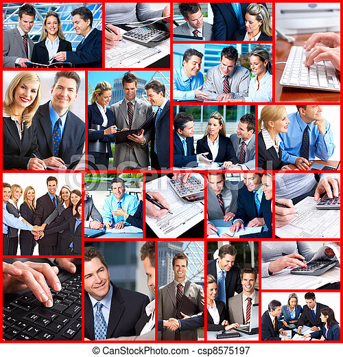business people collage csp8575197