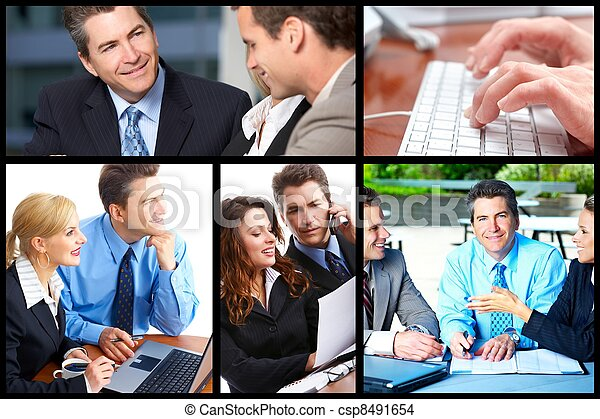 business people collage csp8491654