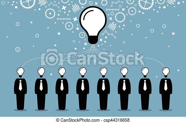 Business people combining their ideas, minds, and thoughts to create a bigger and better idea. - csp44316658