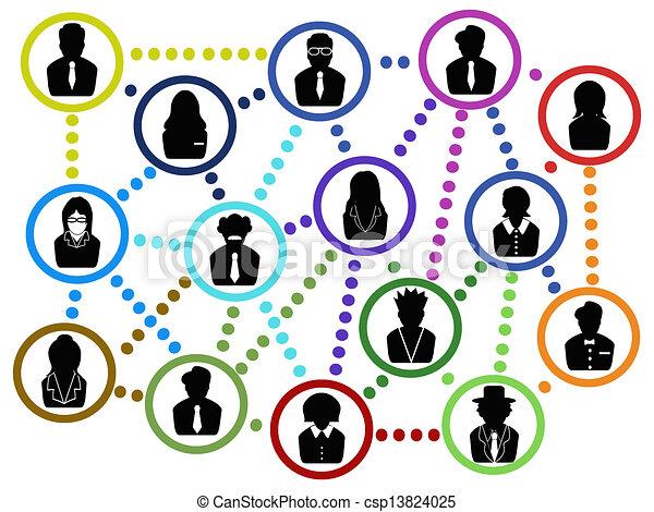 business people communication net  - csp13824025