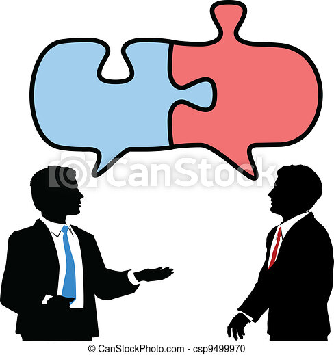 Business people connect collaborate puzzle talk - csp9499970