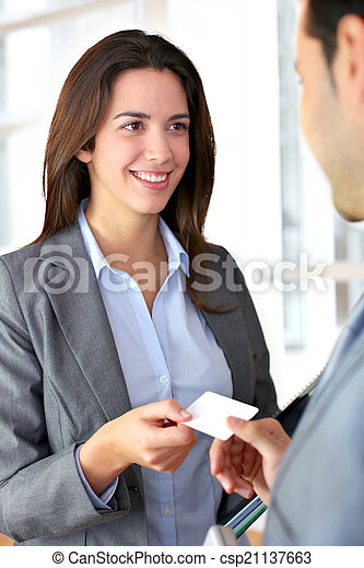 Business people exchanging business card - csp21137663