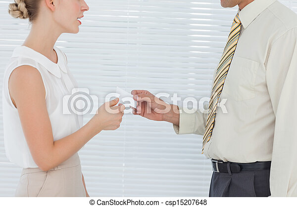 Business people exchanging business card - csp15207648