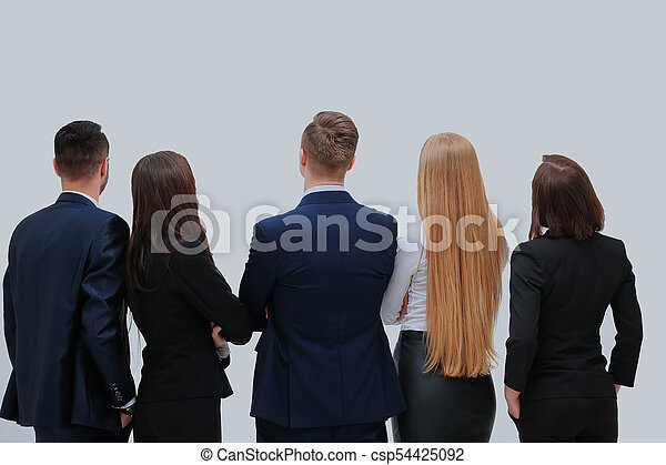 business people from the back - looking at something over a white background. - csp54425092