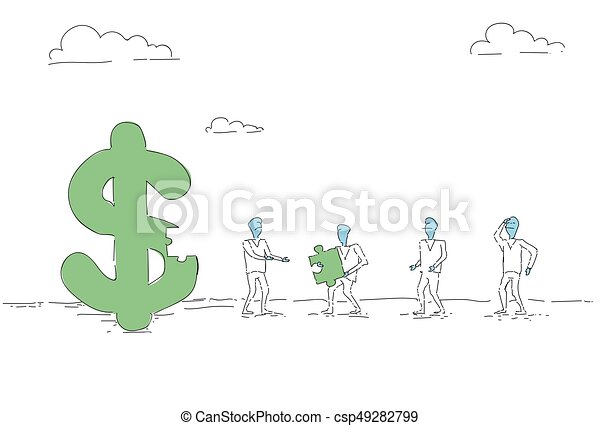 Business People Group Build Dollar Sign Team Investment Together Concept - csp49282799