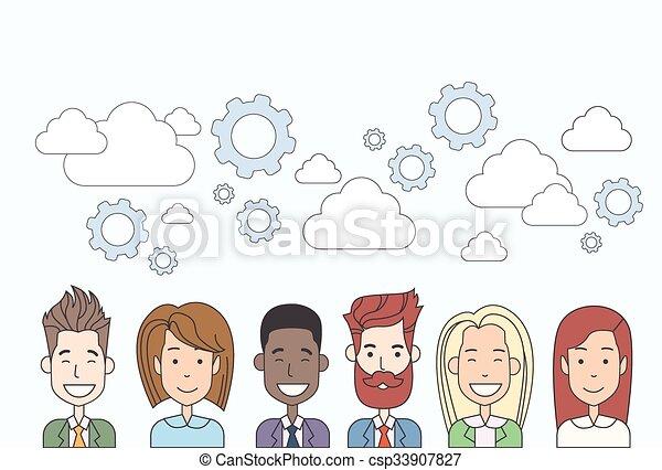 Business People Group Human Resources Teamwork Diverse Cloud Concept - csp33907827