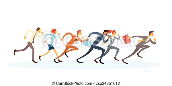 Business People Group Run To Finish Team Leader Competition Concept Isolated - csp34351012