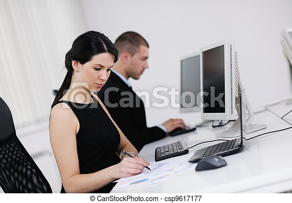 business people group working in customer and help desk office - csp9617177