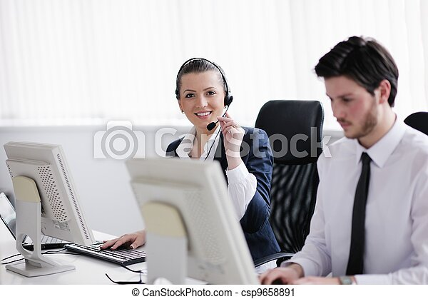 business people group working in customer and help desk office - csp9658891
