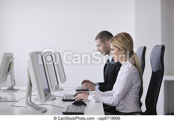 business people group working in customer and help desk office - csp9719906