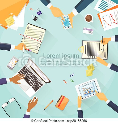 Business People Hands Desk Workplace Top Angle Above View Team  - csp28186266