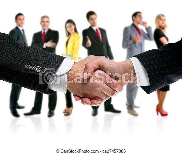 business people handshake and company team - csp7457365