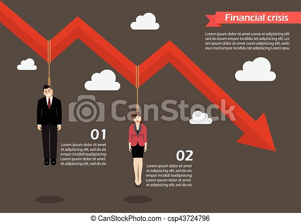 Business people hang on a graph down infographic - csp43724796