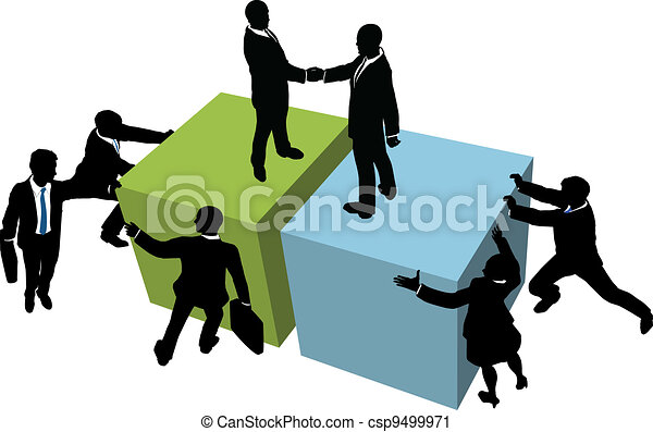 Business people help reach deal together - csp9499971
