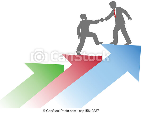 Business people helping team up success - csp15619337